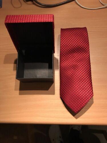 Kravatte Herren rot kariert ca. 9 cm mit Geschenk Aufbewahrung Box