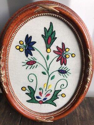 Vintage Oval Embroidered, Needlework Pink Flower Sampler In Frame, ❤️Welsh
