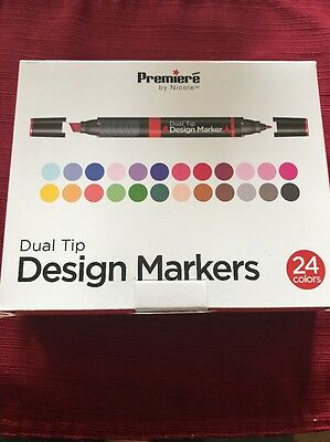 Premiere Dual Tip Design Markers 24 Pack, Dye-Base Alcohol Marker - New In Box ! ()