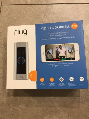 Ring - RING VIDEO DOORBELL PRO WIFI 4 FACEPLATES NIGHT VISION AUDIO 1080P HD NEW SEALED