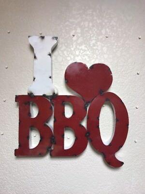 Retro Metal Sign - Extra Large I ❤️BBQ- Smokey Red - Kitchen-Smokehouse -