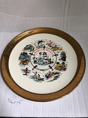 Vintage Myrtle Beach Plate Souvenir travel South Carolina golf fishing surfing