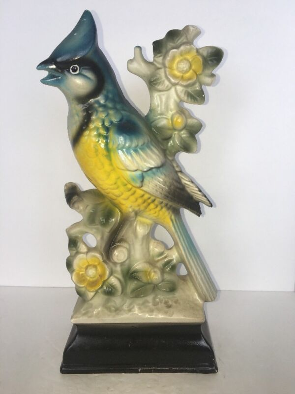 """Vintage Bluejay On Branch With Flowers 11 1/2"""" Tall"""