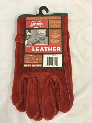 Boss Unlined Leather Work Gloves Rust Color Mens Medium