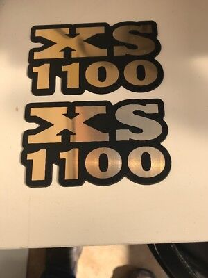 YAMAHA XS1100 BADGES ENGRAVED ROUTED BLACK AND BRUSHED GOLD CHROME
