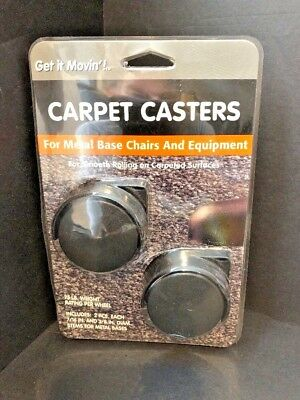 Replacement Carpet Casters For Metal Base Chairs - Black 2pack New
