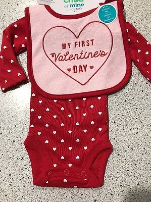 #2075 MY FIRST VALENTINES DAY PINK BIB & RED BODYSUIT SET HEART GIRL 3-6 MO NEW