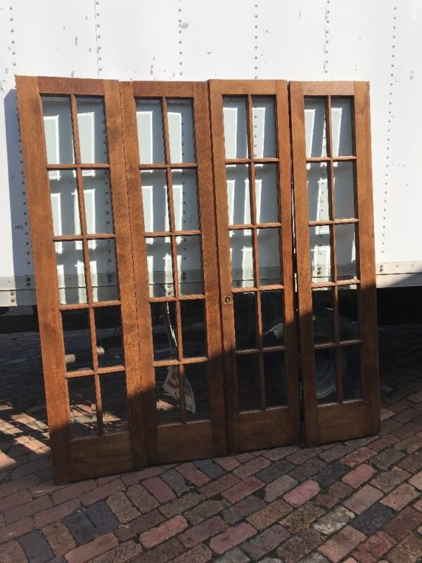 AN469 6 foot beveled glass bifold door unit antique
