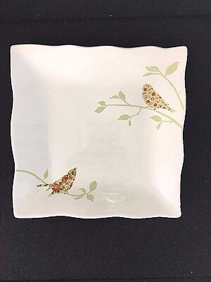 222 Fifth Chintz Birds Square Salad Plate Wavy Edge Buffet Luncheon DF