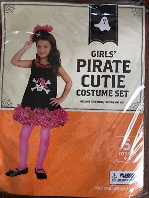 Rubies Pirate Cutie Costume Pink Girls Tutu Dress Mini Hat 4-6