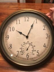 """WALL CLOCK ROUND COPPER COLOR BATTERY OPERATED 13.5"""" (HN)"""