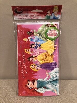 Disney Princess Pack of 4 Gift Card Holder Holiday Christmas Cards w/Stickers