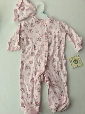 Little Me Baby Girls Coverall Hat Outfit Size 3 6 9 Months Pink Princess Layette