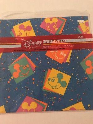 Vintage DISNEY GIFT WRAP Mickey Mouse Neon Splatter WRAPPING PAPER 2 Sheets](Mickey Mouse Gift Wrap)