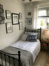 Gorgeous black metal vintage look single bed with mattress - both 6 months old