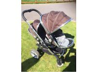 ICandy Double pushchair in Blackjack, includes seat liners and cosy toes