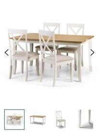 Rectangular solid wood dining table with 4 chairs