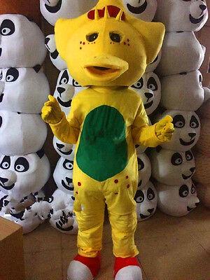 Best Halloween Cartoons (HOT! Best Barney YELLOW Dinosaur Mascot Costume Cartoon Party Dress Adult)