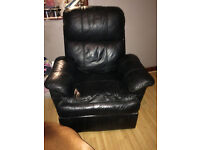 Reclining, black, leather chair