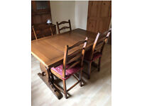Vintage Ercol Dining Table and 4 Chairs Golden Dawn
