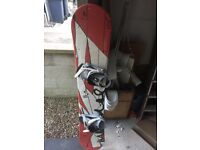 Snowboard, boots, bindings and suit