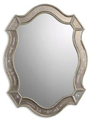 FRENCH TUSCAN VENETIAN ETCHED ANTIQUED GLASS FELICIE OVAL WALL VANITY MIRROR