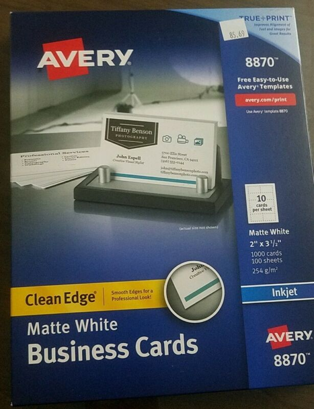 "Avery Clean Edge Matte White Business Cards 2"" X 3.5"" #8870 1000 ct NIB"