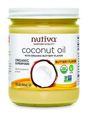Nutiva Organic Coconut Oil Buttery Flavour 414ml - Nut Flavor Oil