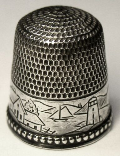 "Antique Stern Bros. Sterling Silver Thimble  ""Landscape"" Scene  Sailboat  C1900s"