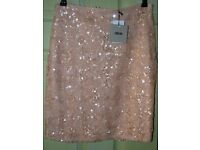 Womens ASOS Pale Pink sequin skirt Size 12 NWTs