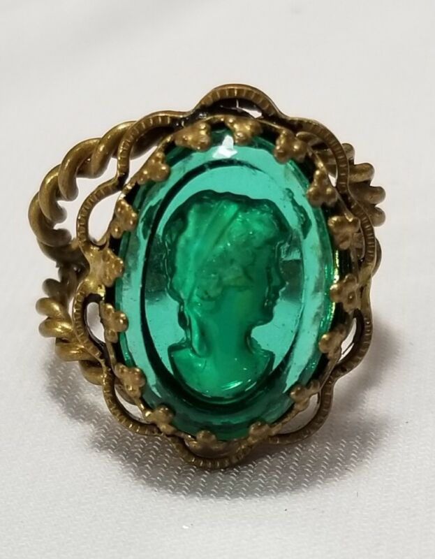 Vintage Green Intaglio Cameo Ring Size 7 Adjustable West Germany
