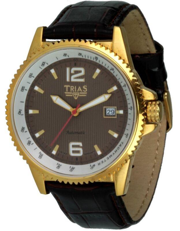TRIAS Uhren Herren-Automatikuhr Edelstahl IP gold braunes Zifferblatt Lederband