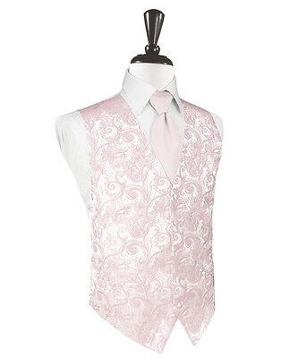 Men's Blush Pink Tapestry Tuxedo Vest Tie Set Formal Groo...
