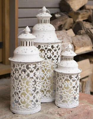 Set of 3 White Vintage Effect Metal Moroccan Style Garden Indoor Lanterns