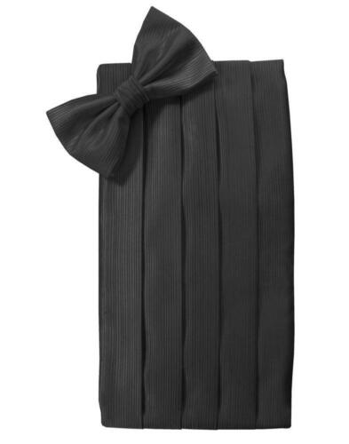 New Tuxedo Cardi Black Faille Heavy Silk Tux Cummerbund Sash Bow tie Adj TUXXMAN