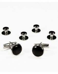 NEW-Black-Silver-Tuxedo-Cufflinks-Formal-Shirt-Studs-Set-Tux-Cuff-Links-USA