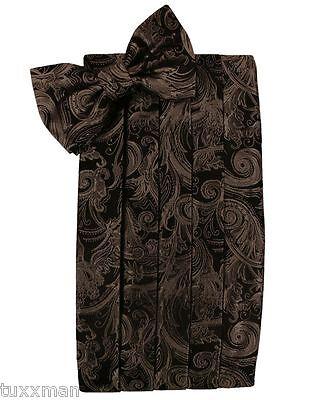Men's Cardi Chocolate Brown Paisley Tuxedo Cummerbund Bow...
