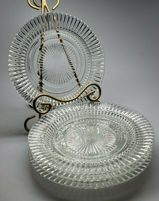 4 Anchor Hocking QUEEN MARY Vertical Ribbed Crystal Rimmed Salad Plate 8 1/2""