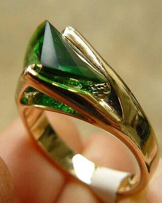 Cz Ring Lazer Cut Dark Emerald Color Hge Gold Finish Multi-faceted Stone