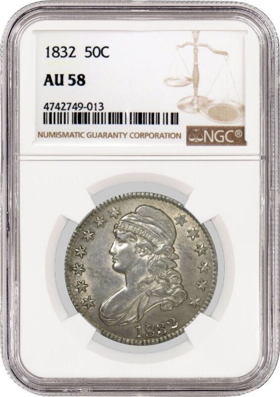 1832 50C Small Letters Capped Bust Silver Half Dollar NGC AU58