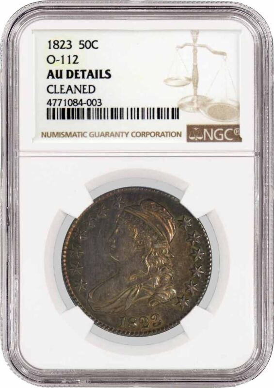1823 50C Capped Bust Silver Half Dollar O-112 NGC AU Details Cleaned Toned