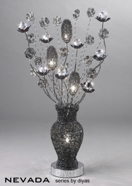 Diyas Nevada - IL70380 Table Lamp 4 Light In Black / Chrome / Crystal