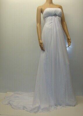 Hochzeitskleid Brautkleid schulterfrei Schleppe lefer weiß 34 S Chiffon LITB NEU