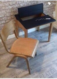 Childrens Vintage School Desk & Chair - Chalkboard Top & Storage