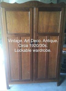 Art Deco lockable wardrobe antique Beaumaris Bayside Area Preview