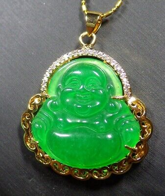 Gold Plate Green JADE Pendant Buddha God Necklace Diamond Imitation 100086 - Gold Plate