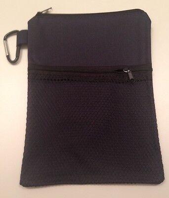 Golf Caddy Pouch Zippered Nylon Golf Ball Tees & Accessory Ditty Bag Holder NAVY