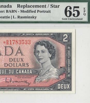 1954 BANK OF CANADA QEII $2 **STAR NOTE** (( PMG 65 EPQ ))