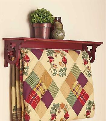 DELUXE QUILT BLANKET HOLDER WALL RACK WITH SHELF SCROLLED IN