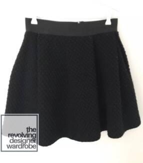 SCANLAN and THEODORE Black Virgin Wool Pleated Skirt 10 Designer